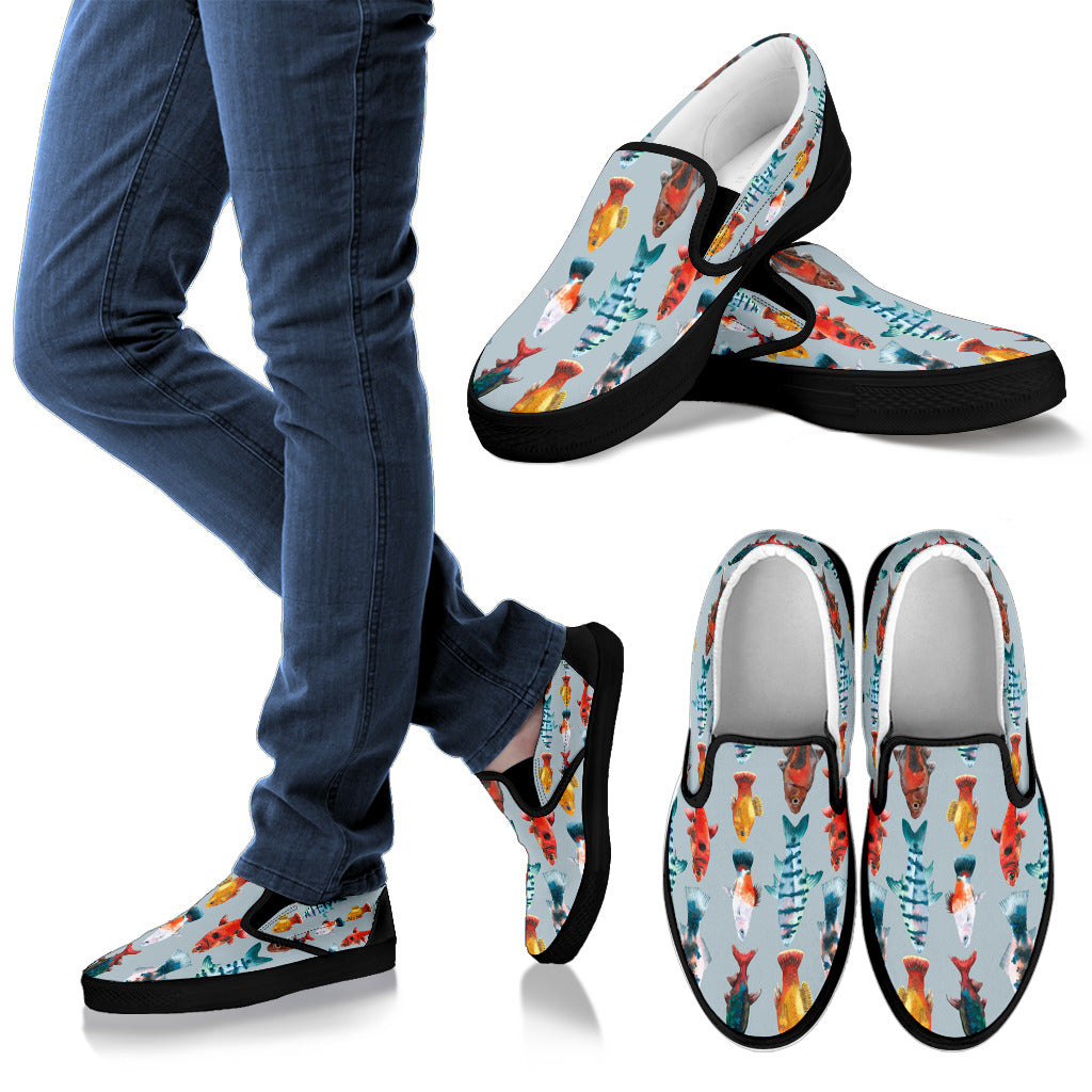 Cool Fish Print White Women's Slip On