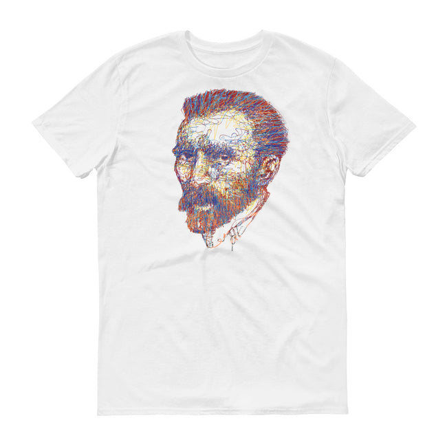 Distressed Grungy Sketched Vincent Van Gogh Portrait Short-Sleeve T-Shirt