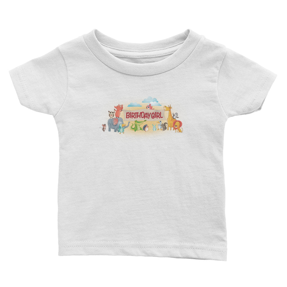 Birthday Girl Infant Tee with Ribbed Crew Neck | T-shirt for Baby Girls | Miggle Miggle
