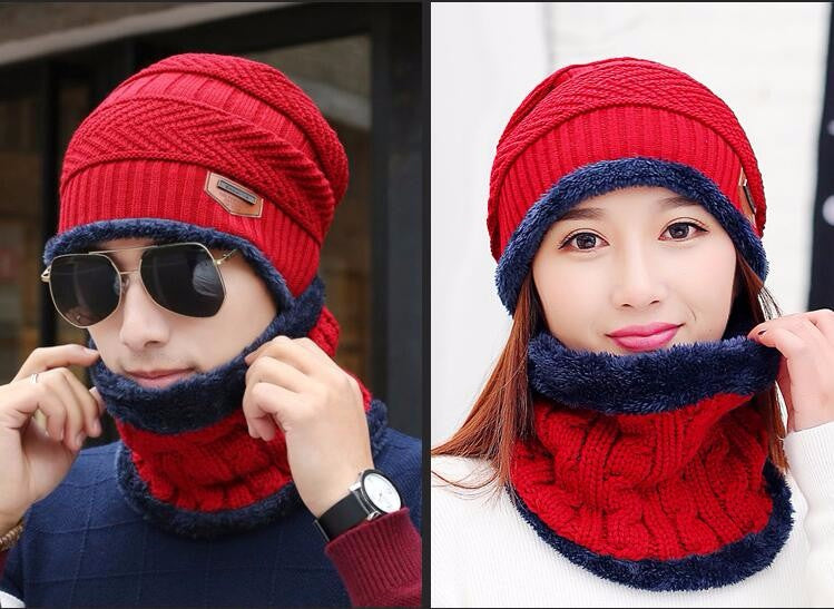 743c326cf Neck warmer knit ski cap scarf cold warm fur lining winter hat for women  men Knitted velvet skullies beanies Bonnet