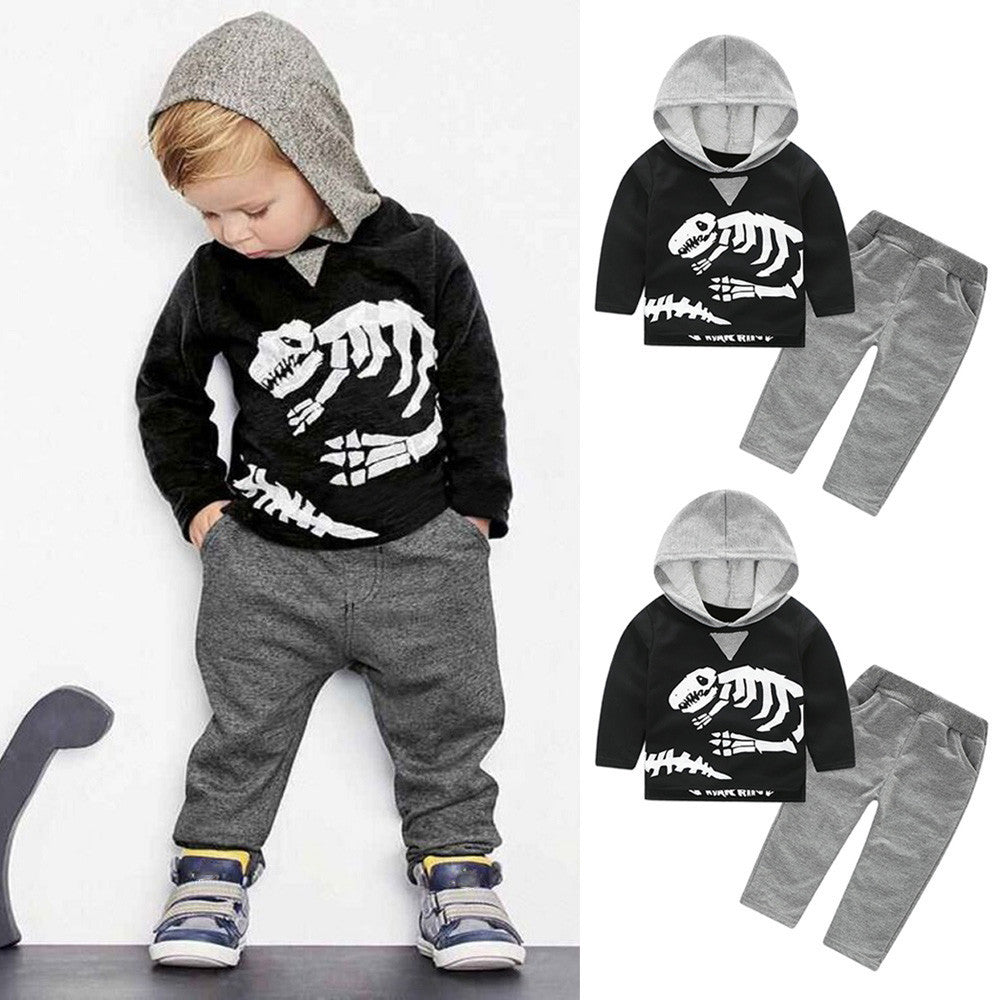2-Piece Set Baby/Toddler Long Sleeve Dinosaur Hooded Sweatshirt