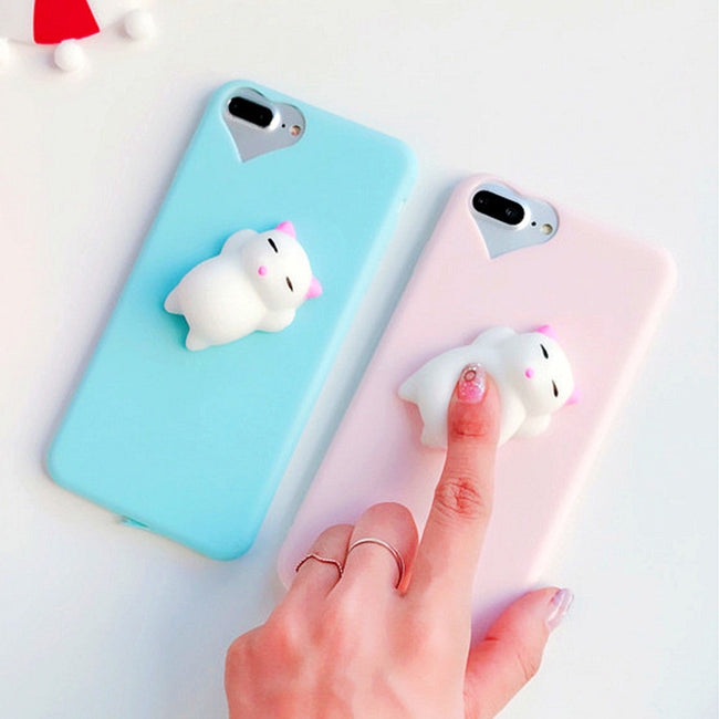 Cute 3D Squishy Silicon Doll, Cat, Seal, Cat Paw Phone Cases For iPhone