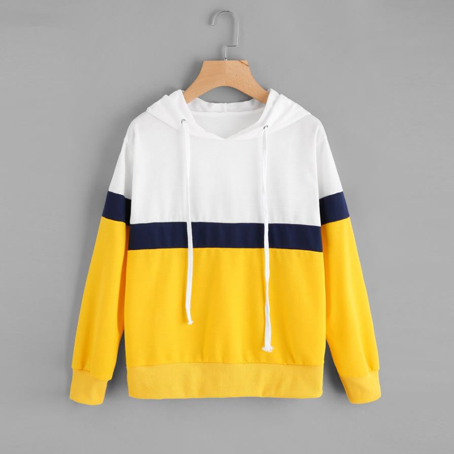 Ladies' Patchwork Sweatshirt Round Neck Hoodie Pullover Tops