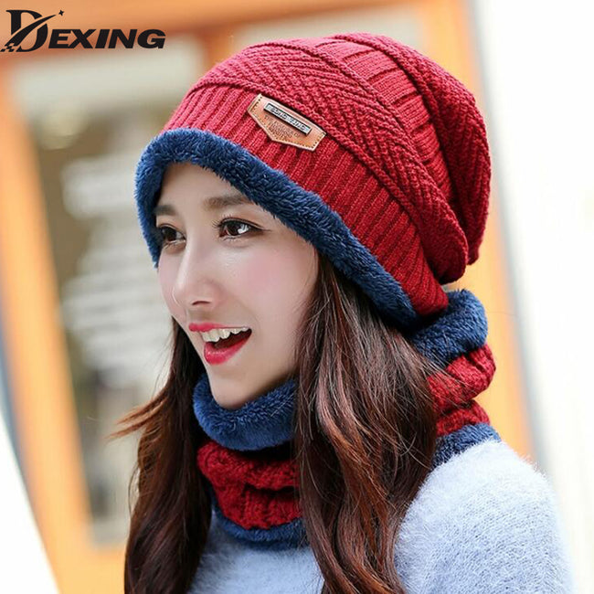 Neck warmer knit ski cap scarf cold warm fur lining winter hat for women men Knitted  velvet skullies beanies Bonnet