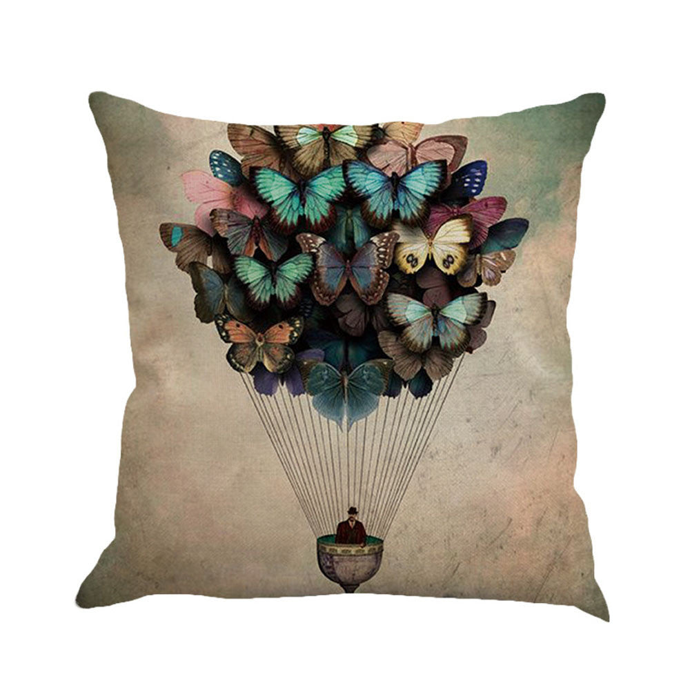 Lovely Butterfly Mariposa Painting Linen Cushion Cover Throw Pillow Case