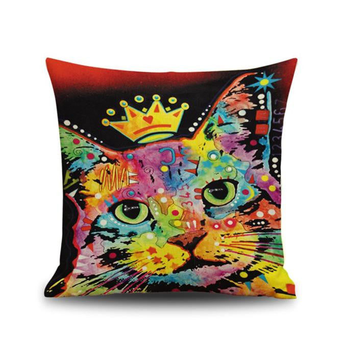 Colorful Cat 3D Printing Dyeing Sofa Bed Home Decor Pillow Case Cushion Cover