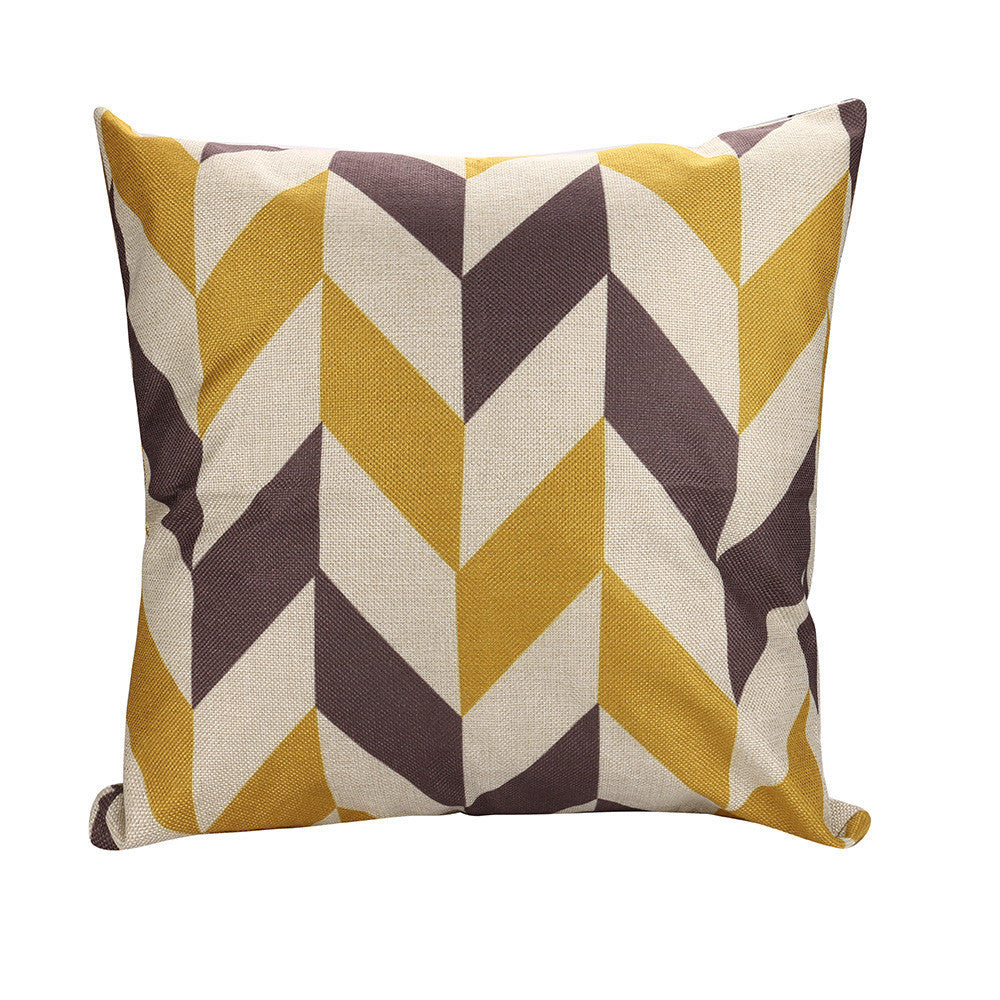 Color Geometric Lines Cotton Linen Throw Pillow Case Cushion Cover Home Decor