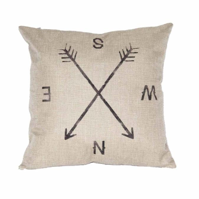 Minimalist Compass Linen Throw Pillow Case Cushion Cover Home Decor
