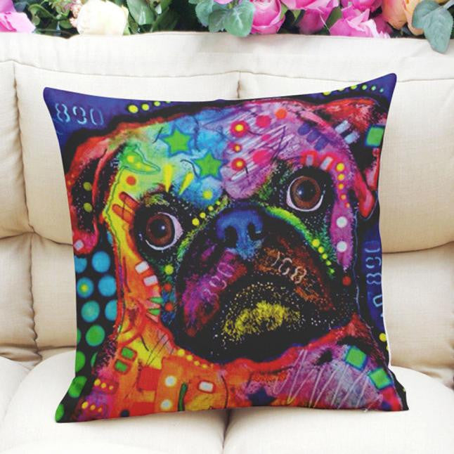 Cute Colorful Tie-Dye Style Pug Pillow Case Cushion Cover