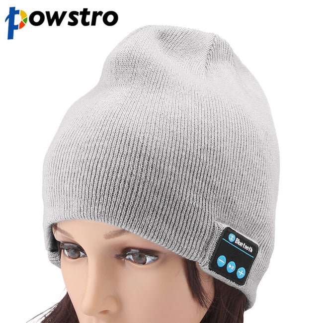 Powstro Wireless Smart Headphone Bluetooth 4.1 Warm Beanie with Built-in Mic Headset Speaker Winter Knit Cap