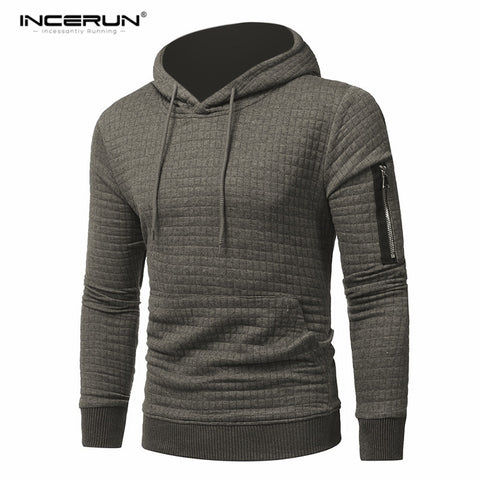Men's Hooded Sweatshirt Pullover Casual with Leather Patchwork