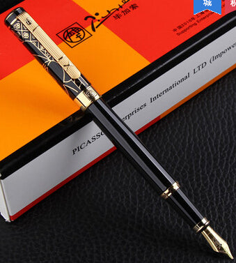 Picasso Luxury Quality black & golden M nib fountain writing pen