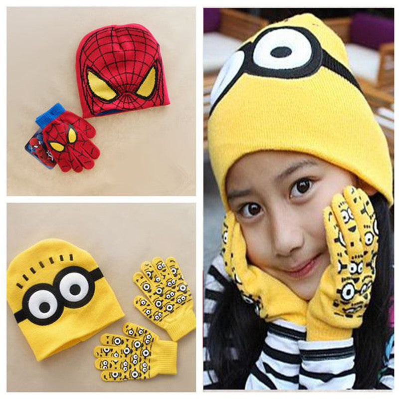 Autumn Winter Girls Boys Hat Gloves Cartoon Character Set