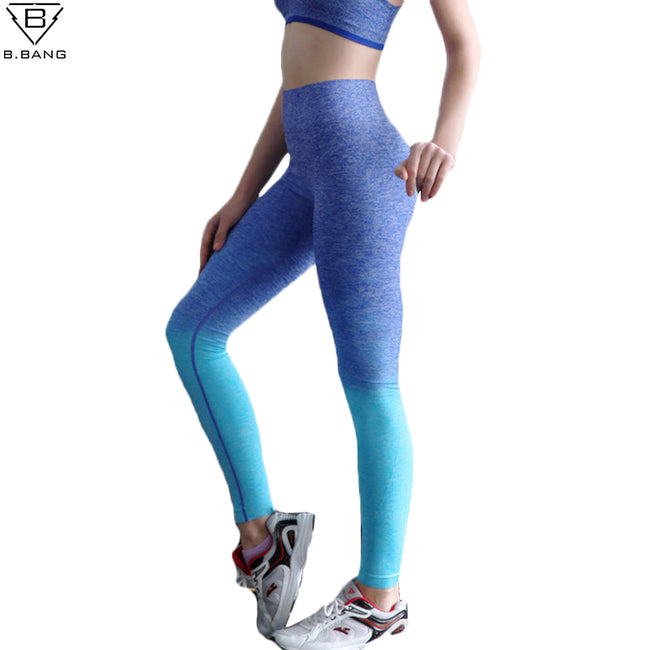 Women Yoga Running Fitness Sport Elastic  High Waist Leggings Training Pants