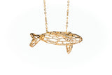Dolphin Necklace Pendant Yellow Gold or Rose Gold plated