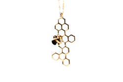Honeycomb Bee-Dazzled (Vertical) Necklace Pendant Silver-Base *NEW*