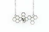 Honeycomb Bee-Dazzled Necklace Pendant Rhodium Plated *NEW*