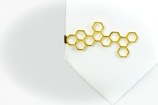 Honeycomb Tie Bar Yellow Gold Plated