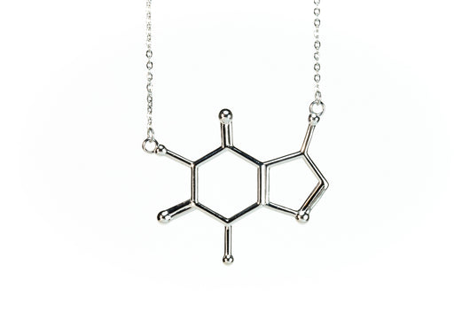 BioChem Caffeine Chemical Structure Necklace Pendant Rhodium plated