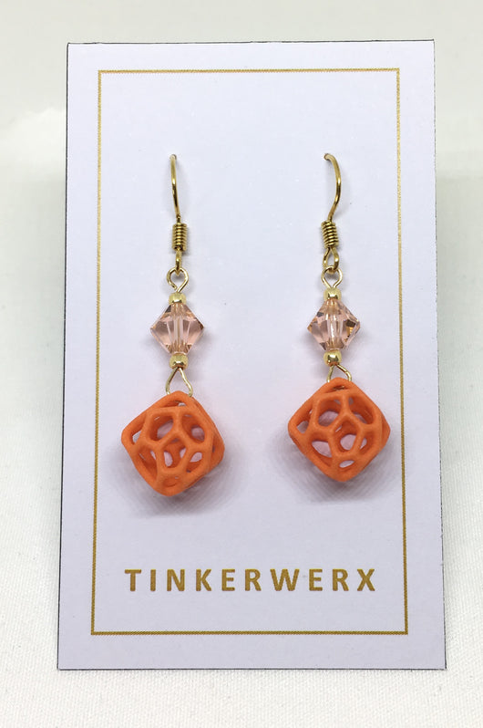 Mini Coral Rock Earrings - Orange