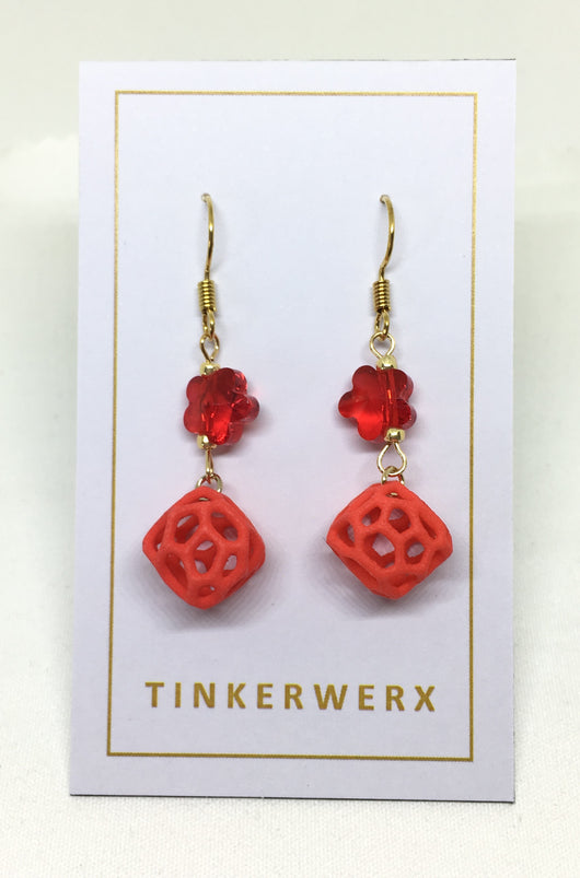 Mini Coral Rock Earrings - Floral Red