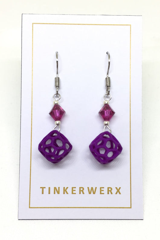 Mini Coral Rock Earrings - Purple