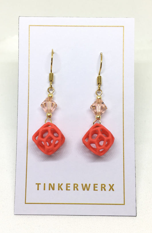 Mini Coral Rock Earrings - Red