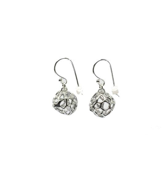 Mini Coral Rock Earrings Rhodium plated on Silver