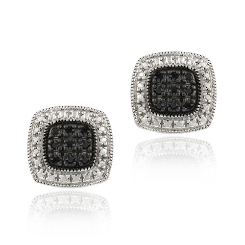 Chic Black Diamond Square Earrings