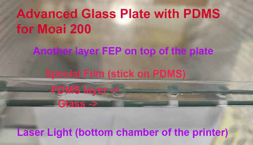 Advanced Glass  Plate with PDMS for Moai 200 Vat
