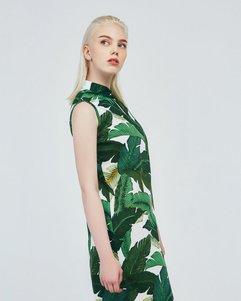 Cheongsam Dress with Printed Leaves product image