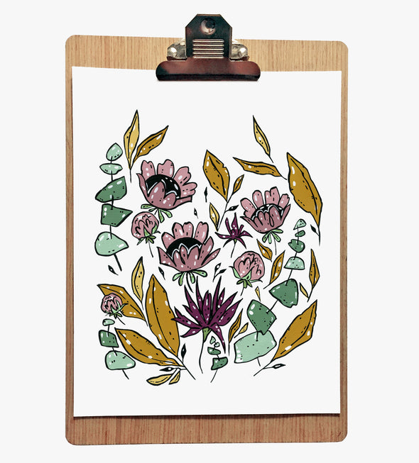 Purple & Gold Flowers 8 x 10 Print
