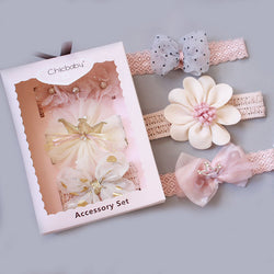 Newborn Baby Hairband Bow Flower Children's Hair Accessories Headband Crown Jewelry Set Gift Box