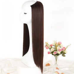U-shaped Wig Half Hood Female Long Straight Hair with Round Face Invisible Chemical Girl Women Fiber Wig