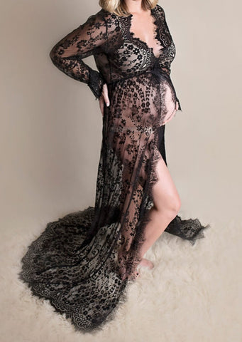 Pregnant Women Taking Pictures Of Lace Dresses Pregnant Women Front Split Lace Sweap Train Dress