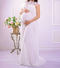 Embroidery Beads Pregnant Women Dress Embroidery Beads Chiffon Long Skirt Pregnant Women Photography
