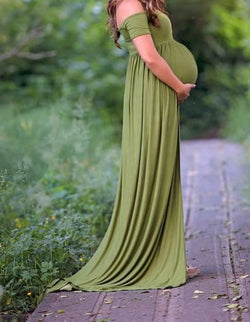 Pregnant Woman Photo Shoot Dress With A Short Collar Elastic Cotton Pregnant Women Sweep Train Dresses