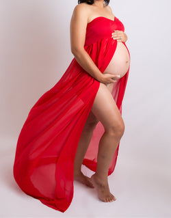 Pregnant Woman Photo Shoot Dress Front Split Chiffon Mowing Pregnant Women To Photography Long Skirt Large Stretch