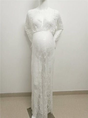 Lace Pregnant Women Shoot Mopping Skirt Eyelash Lace V-Neck Pregnant Women Mother Portrait Dress