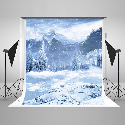 LIFE MAGIC BOX Seamless Wrinkle-free Polyester Washable Photo Background Newborn Photography Cloth Backdrops Snow Mountain