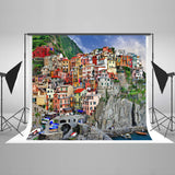 LIFE MAGIC BOX Seamless Wrinkle-free Polyester Washable House On Mountain City Backdrop Photo Background Pattern Background