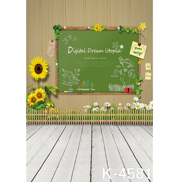 PHSFUBEL Silk Like Upgraded Material Blackboard Painting Backgrounds Wood Backdrops Cute Background