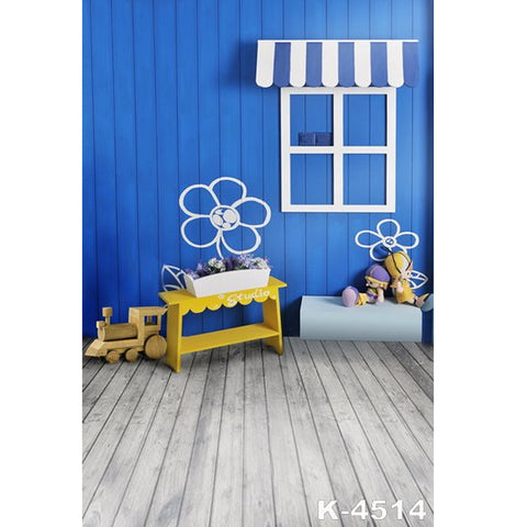 PHSFUBEL Silk Like Upgraded Material Wooden Backdrops Cute Background Blue Background