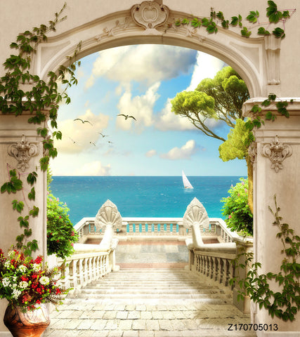 PHSFUBEL Seamless Wrinkle-Free Washable Scenery Backdrops Door Backdrops Sea View HD Backgrounds