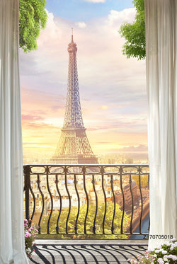 PHSFUBEL Seamless Wrinkle-Free Washable Tower Background Balcony Window Backdrops HD Backdrop