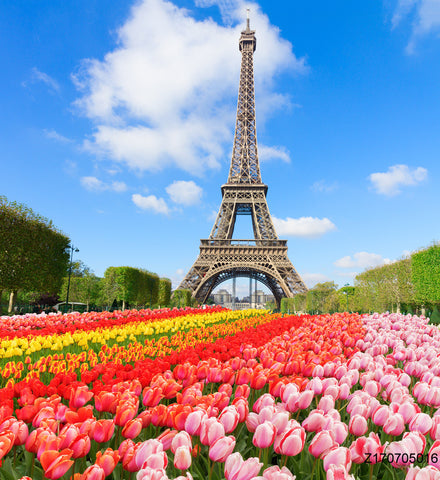 PHSFUBEL Seamless Wrinkle-Free Washable Scenery Backdrops Tower Backdrops Flower Backgrounds
