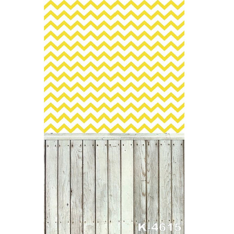 PHSFUBEL Silk Like Upgraded Material Yellow Stripes Pattern Backdrop Gray Wood Flooring Background