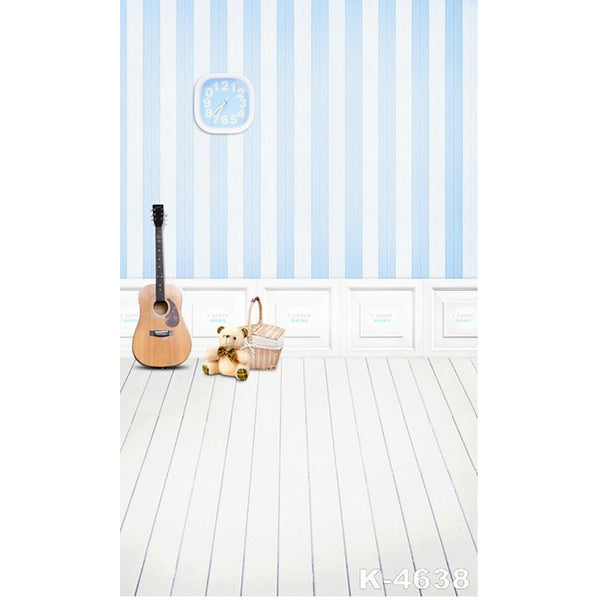 PHSFUBEL Silk Like Upgraded Material Grey Blue Backdrops Wood Flooring Backdrops photos Background