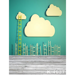 PHSFUBEL Silk Like Upgraded Material Child Backdrops Gray Wood Flooring Backdrops Cute Background