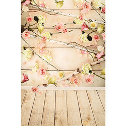 LIFE MAGIC BOX Seamless Wrinkle-free Washable Flower Wood Backdrops Photo Backgrounds